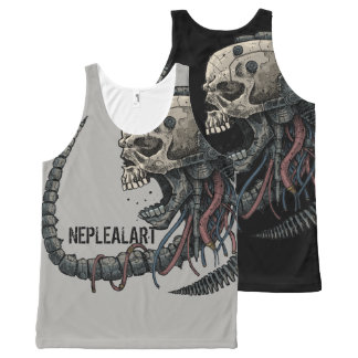 to cyber skull neplealart All-Over-Print tank top