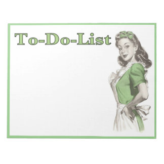 To-Do-List Notepad with Vintage Housemaid