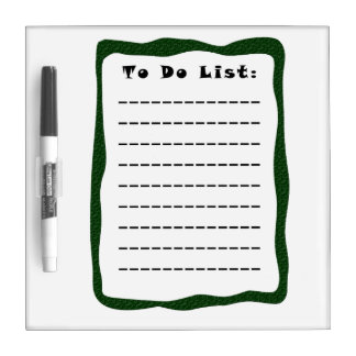 To Do List w Green Border with Pen Dry Erase Board