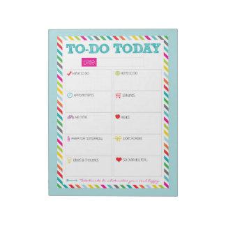 To-Do Today - Aqua Bright Stripe Notepad