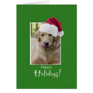 To Dog Walker at Christmas, Golden Retriever in Sa Card