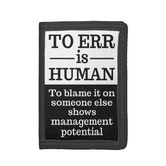 """To err is human"" wallets"