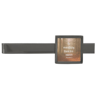 To everything there is a season Bible Verse Gunmetal Finish Tie Clip