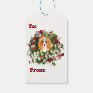 To: & From: Cavalier King Charles Wreath Gift Tags