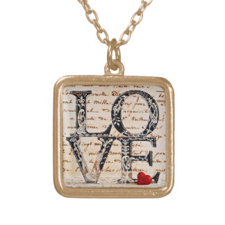 """To glue with finishing in gold """"LOVE """" Square Pendant Necklace"""