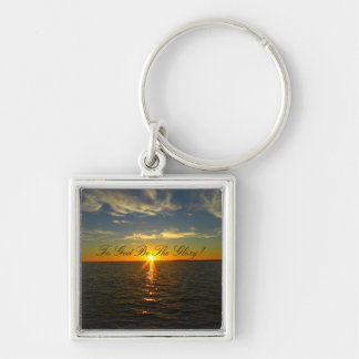 To God Be The Glory! - Lake Sunrise Silver-Colored Square Keychain