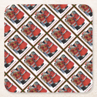 To Grandma and Grandad Mr and Mrs Claus Christmas Square Paper Coaster