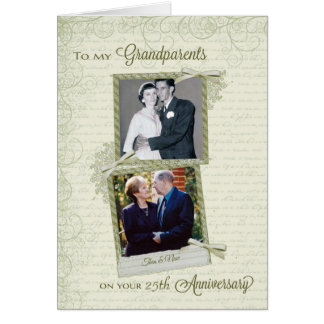 To Grandparents on _th Anniversary-Custom Then&Now Card