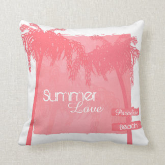 to kiss summer palm trees pink throw pillow