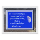To know - Confucius quote - art print