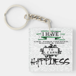 To Learn Happiness Double-Sided Square Acrylic Keychain