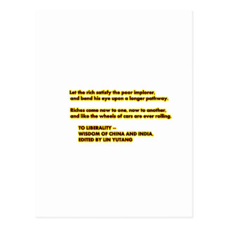 TO LIBERALITY Yellow Red2  Words to Live By jGibne Postcard