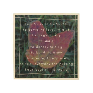 To LIVE is To CONNECT Poem and Photo Wood Wall Art