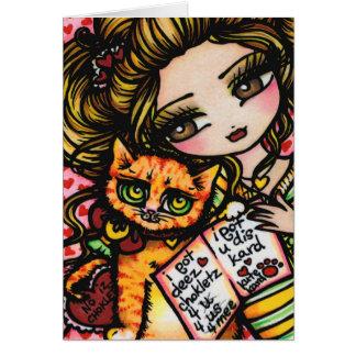 TO MOM FROM CAT Cute Comic Art by Hannah Lynn Card