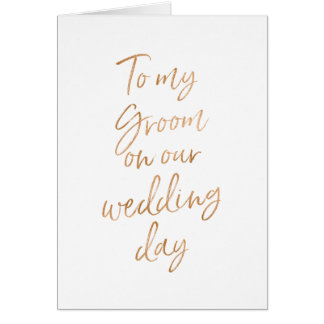 To my Groom on our wedding | Stylish Gold Rose Card