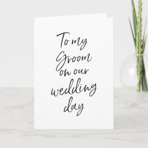 dd02bd41b9f5d To my groom on our wedding | Stylish Hand Lettered Card