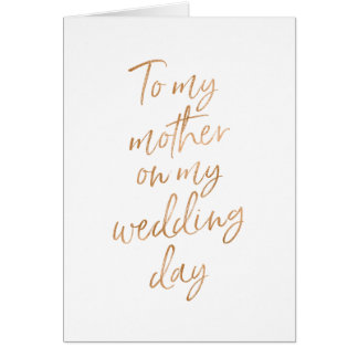 To my mother on my wedding | Stylish Gold Rose Card
