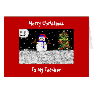 To My Teacher Merry Christmas Greeting Card