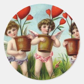 To My Valentine Angel Cherubs Round Sticker