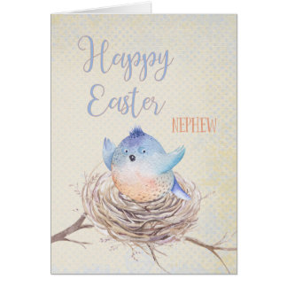 To Nephew Happy Easter Blue Bird in Nest Card