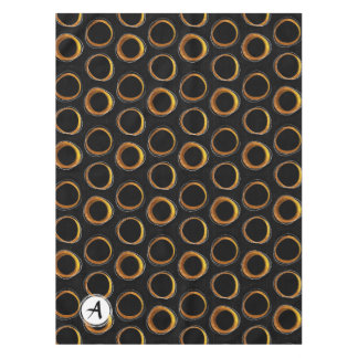 To pave Eclipse Mid-Century Modern Black & Gold Tablecloth