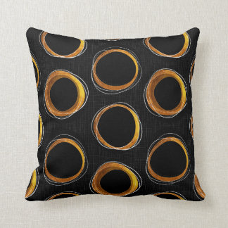 To pave Eclipse Mid-Century Modern Black & Gold Throw Pillow