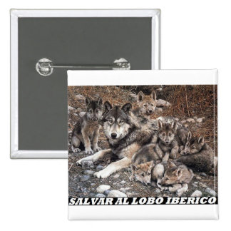 To save the Iberian wolf 2 Inch Square Button