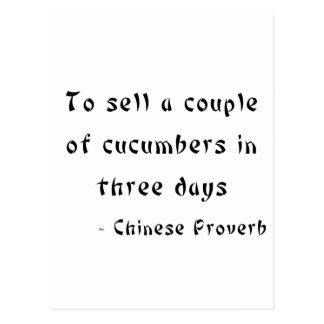 To sell a couple of cucumbers in three days postcard