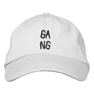 "To simple white CAP with the Word ""gang """