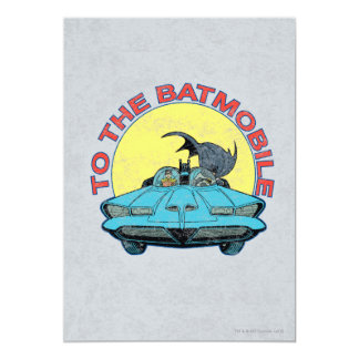 "To The Batmobile - Distressed Icon 5"" X 7"" Invitation Card"