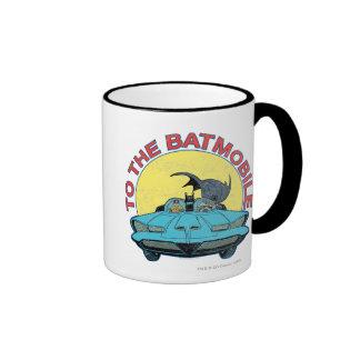 To The Batmobile - Distressed Icon Ringer Mug