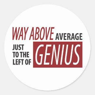 To The Left Of Genius Round Sticker