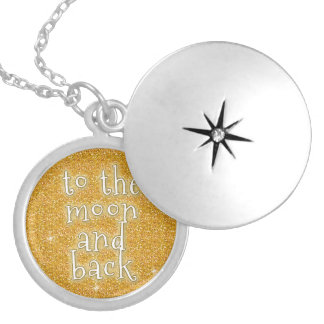 To the Moon and Back Gold Faux Glitter Effect Locket Necklace