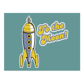 to the moon retro space rocket postcards