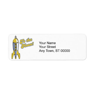 to the moon retro space rocket return address label