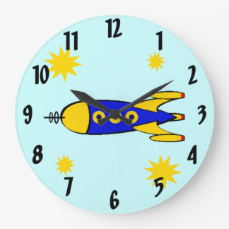 To the Moon Retro Spaceship Wall Clock