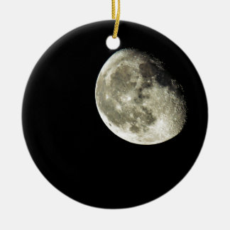 To the Moon Round Ceramic Ornament