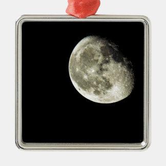 To the Moon Silver-Colored Square Ornament