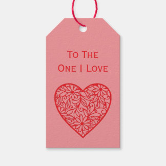 """To the One I Love"" Valentine's Heart Gift Tags"
