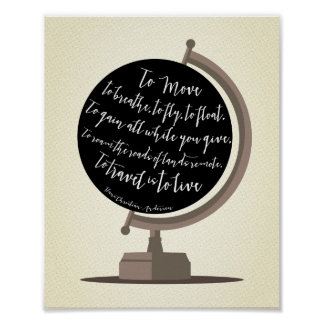 To Travel is to Live Quote Globe Print