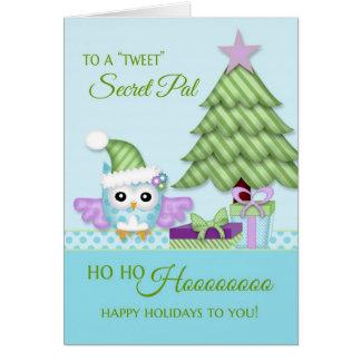 To 'Tweet Secret Pal Happy Holiday Owl w/tree Greeting Card