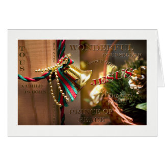 To us a child is born Christian Christmas greeting Card