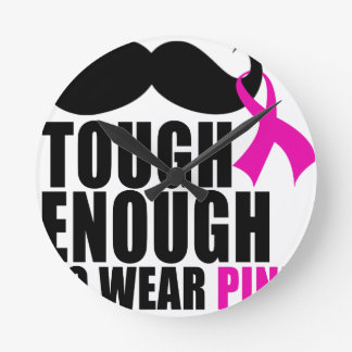 To wear Pink for cancer awareness Round Clock