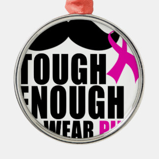 To wear Pink for cancer awareness Silver-Colored Round Ornament