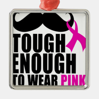 To wear Pink for cancer awareness Silver-Colored Square Ornament