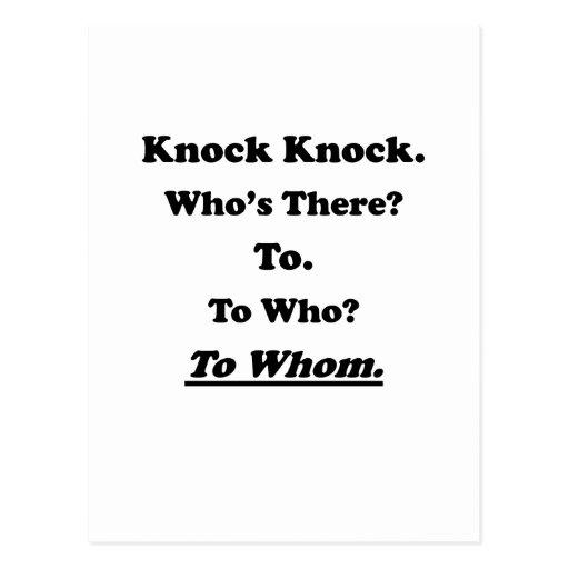 To Whom Knock Knock Joke Post Cards
