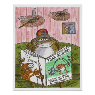 TOAD READING A MAGAZINE poster
