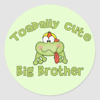 Toadally Cute Big Brother Classic Round Sticker