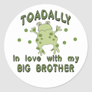 Toadally Love Big Brother Round Stickers