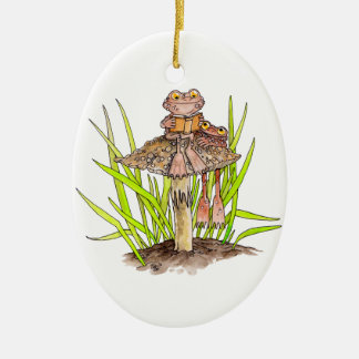 Toads Sharing A Book Ornament
